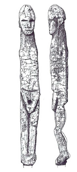 Fig. 2: Anthropomorphic* figure in yew-wood, dating from the Middle Bronze Age, discovered in a bog at Ralaghan, in Co. Cavan (Ireland). O'Sullivan, 2007, p. 187, fig. 8.
