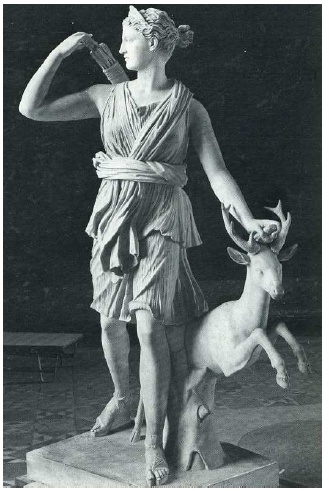Fig. 51: Copy of a 350/340 BC statue of Diana known as 'from Versailles' in marble, from the time of Hadrian, representing her with sandals, the chiton*, the quiver and her emblematic animal: the doe. Musée du Louvre, n° 589, Paris.