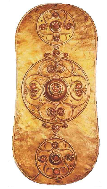 Fig. 3: Bronze shield inlaid with enamel (0.775m), dating from the beginning of the 1