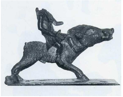 Fig. 50: Statuette in Bronze of a huntress goddess riding a boar. The place of discovery is uncertain (Jura or Ardennes?). Boucher, 1976, pl. 61, n° 292.