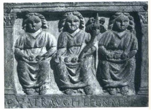 Fig. 12: Rectangular tablet from Lyons (Rhône), depicting three mother goddesses, holding baskets of fruit and cornucopiae*, with an inscription naming them:
