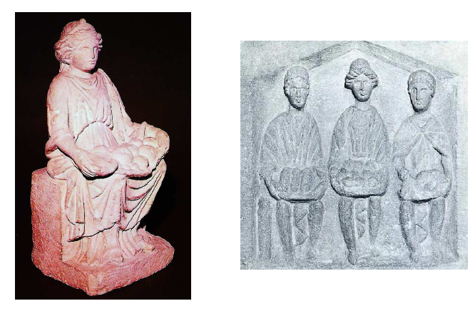 Fig. 10: Left: Single Mother Goddess from Alésia (Côte d'Or). In the Musée Alésia. Deyts