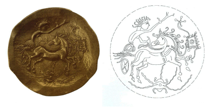 Fig. 13: Golden coin of the Turones and facsimile. On the obverse: a woman charioteer on a symbolical wagon, holding the reins of a horse. Diam: 2.5cm. Duval, 1987, p. 43, 5Aa (=
