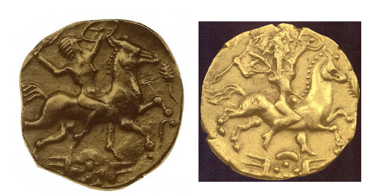Fig. 14: Golden coins from the area of Rennes, territory of the Redones. On the obverse: naked female rider, holding shield and spear or thunderbolt with three flashes of lightning. Diam: 2 cm. Duval, 1987, pp. 54, 57, 7A, 7B (=