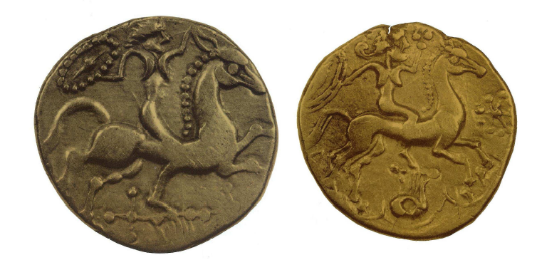 Fig. 15: Golden coins from the territory of the Redones. Left: Naked female rider, above a lyre, holding a shield in her right hand and touching the ear of the horse with the other one. Diam: 2 cm. Duval, 1987, p. 63, 8B (=