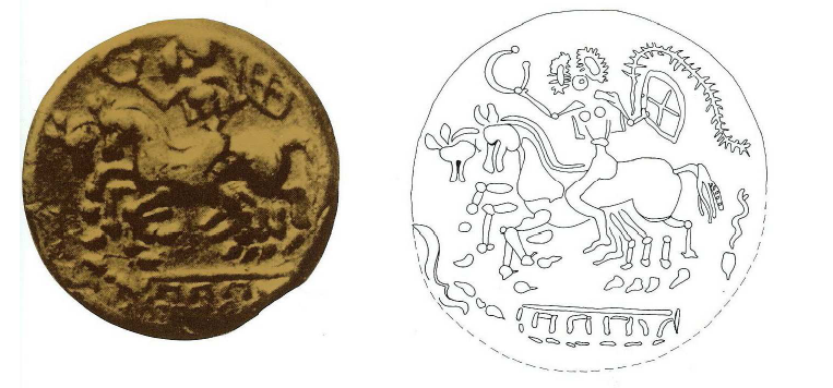 Fig. 16: Golden coin of the Ambiani and facsimile. On the reverse: a female rider with a shield and torque*. Diam: 1.5cm. Duval, 1987, p. 49, 6Bb, 6Bsg (=