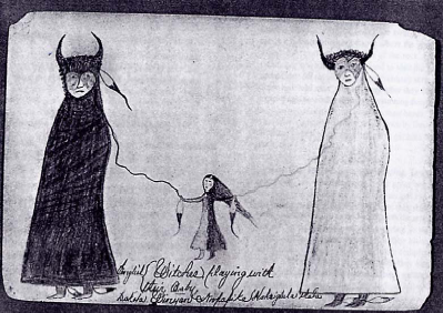 « Witches playing with their baby », vers 1890, Sioux.